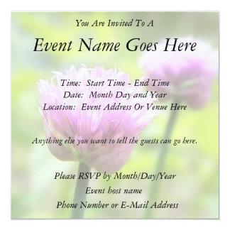 Chive Blossoms Personalized Invitation