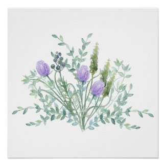 Chives and Herbs Watercolor Poster Print