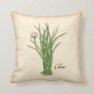 Chives Herb, Pink Flowers Throw Pillow