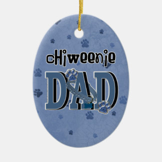 ChiWeenie DAD Double-Sided Oval Ceramic Christmas Ornament