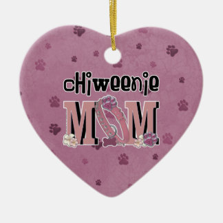 ChiWeenie MOM Double-Sided Heart Ceramic Christmas Ornament