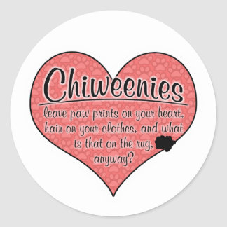 Chiweenie Paw Prints Dog Humor Classic Round Sticker