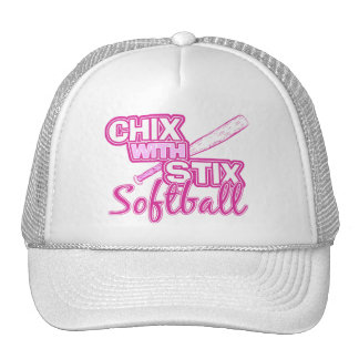 Chix con el softball de Stix Gorros Bordados