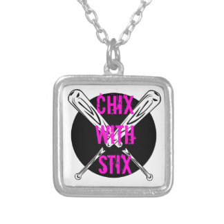 Chix with Stix Silver Plated Necklace