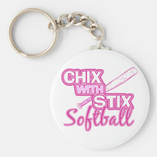 Chix With Stix Softball Basic Round Button Keychain