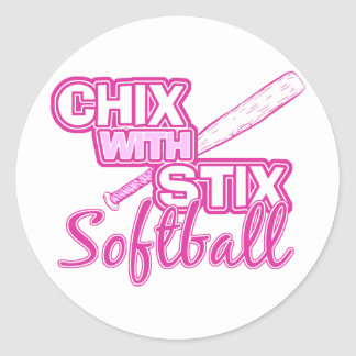 Chix With Stix Softball Classic Round Sticker