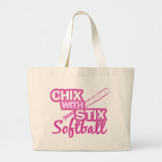 Chix With Stix Softball Large Tote Bag
