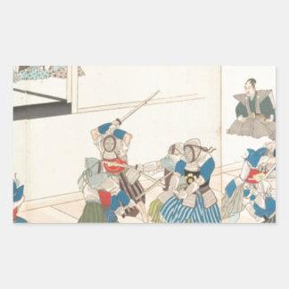 Chiyoda Castle (Album of Men) Toyohara Chikanobu Rectangular Sticker