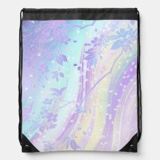 Chiyogami Japanese Waterfall Lavender Teal Aqua Drawstring Backpack