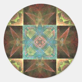 [CHK-ABS-1] Teja bonita del fractal Pegatina Redonda