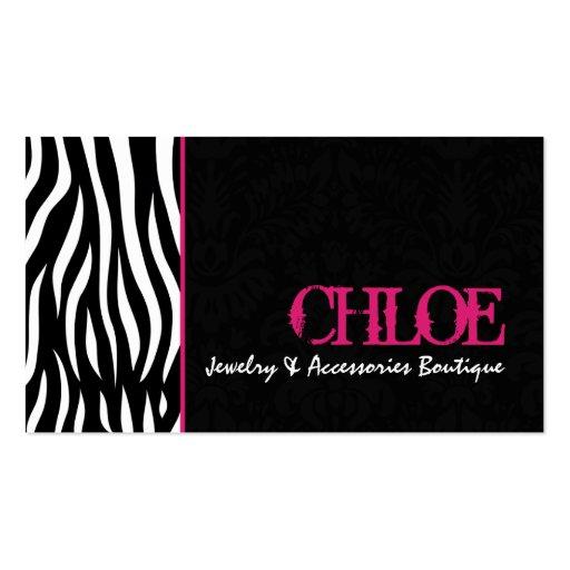 Pink zebra business card templates bizcardstudio chloe black hot pink zebra chic business card colourmoves