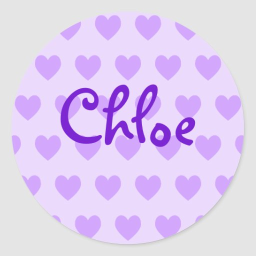 Chloe en púrpura pegatina redonda