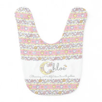 Chloe name and meaning hearts pattern baby bib