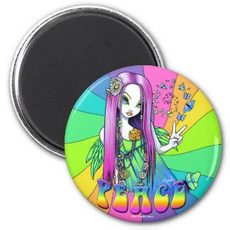 """""""Chloe"""" Rainbow Peace Hippie Fairy Magnet"""