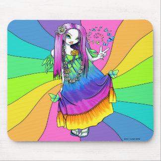 """""""Chloe"""" Rainbow Peace Hippie Fairy Mousepad"""