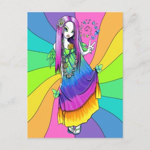 Chloe Rainbow Peace Hippie Fairy Postcard