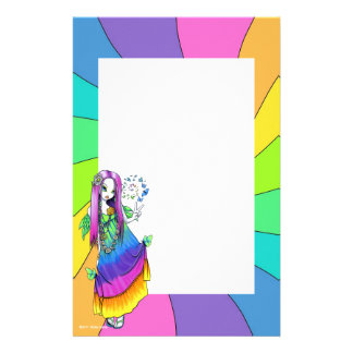 """Chloe"" Rainbow Peace Hippie Fairy Stationery"