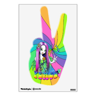 Chloe Rainbow Peace Hippie Fairy Wall Cling Wall Decal
