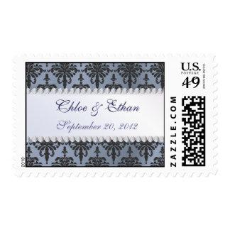 Chloe Silk Damask in Vintage Blue Wedding Postage