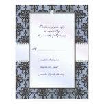 Chloe Silk Damask Wedding RSVP Response Card Custom Announcement