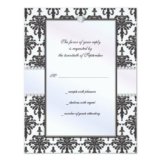 Chloe Silk Damask Wedding RSVP Response Card Custom Invitation