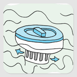 Chlorine pool dispenser square sticker