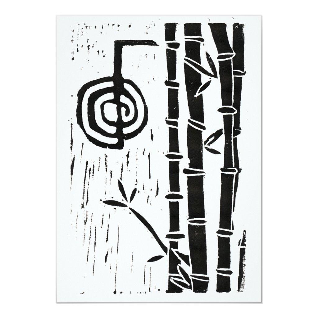 Cho Ku Rei & Bamboo Linocut Reiki Circle Card