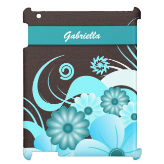 Choc Blue Hibiscus Floral Case Savvy iPad Covers