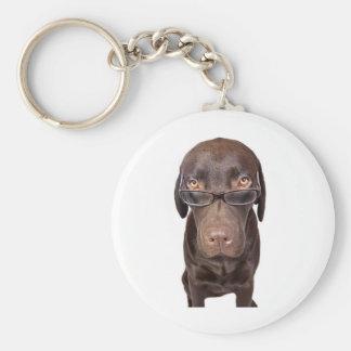 Choccy Lab in Glasses Keychain