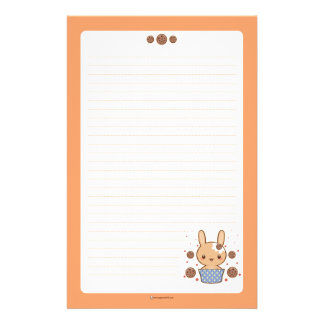 Choclate Chip Cookie Truffle Bunny Stationery