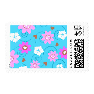 choco heart  floral. postage stamps