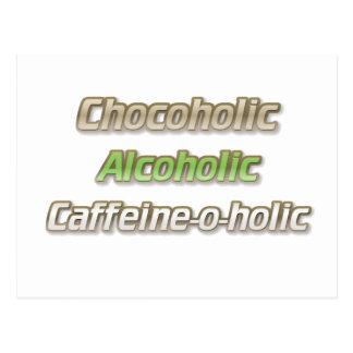 Chocoholic Alcoholic Caffeineoholic Postcard