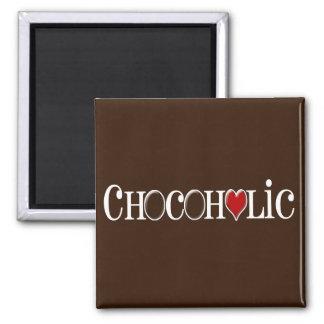 Chocoholic, amante del chocolate con el corazón imán cuadrado
