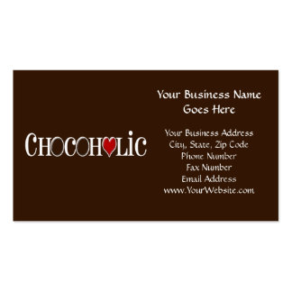 Chocoholic, amante del chocolate con el corazón plantilla de tarjeta de visita