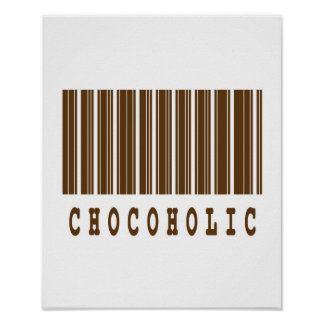 chocoholic barcode design poster
