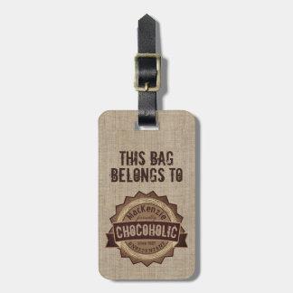 Chocoholic Chocolate Lover Grunge Badge Brown Logo Bag Tag