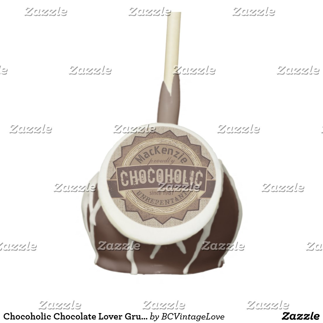 Chocoholic Chocolate Lover Grunge Badge Brown Logo Cake Pops