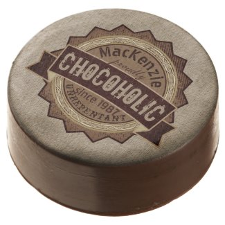 Chocoholic Chocolate Lover Grunge Badge Brown Logo Chocolate Dipped Oreo