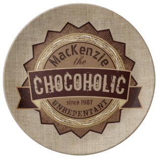 Chocoholic Chocolate Lover Grunge Badge Brown Logo Dinner Plate