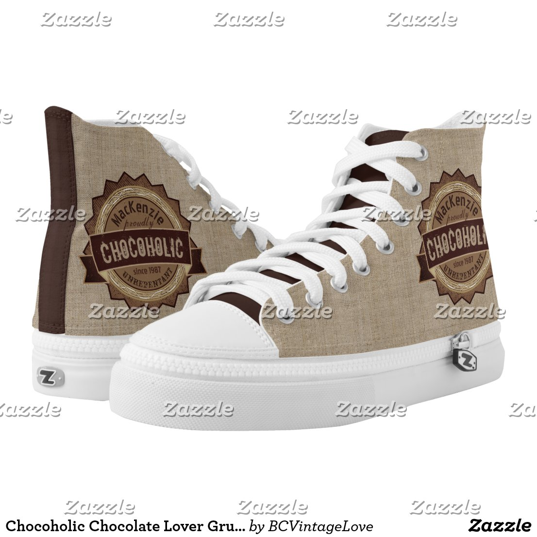 Chocoholic Chocolate Lover Grunge Badge Brown Logo High-Top Sneakers