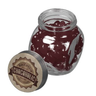 Chocoholic Chocolate Lover Grunge Badge Brown Logo Jelly Belly Candy Jar