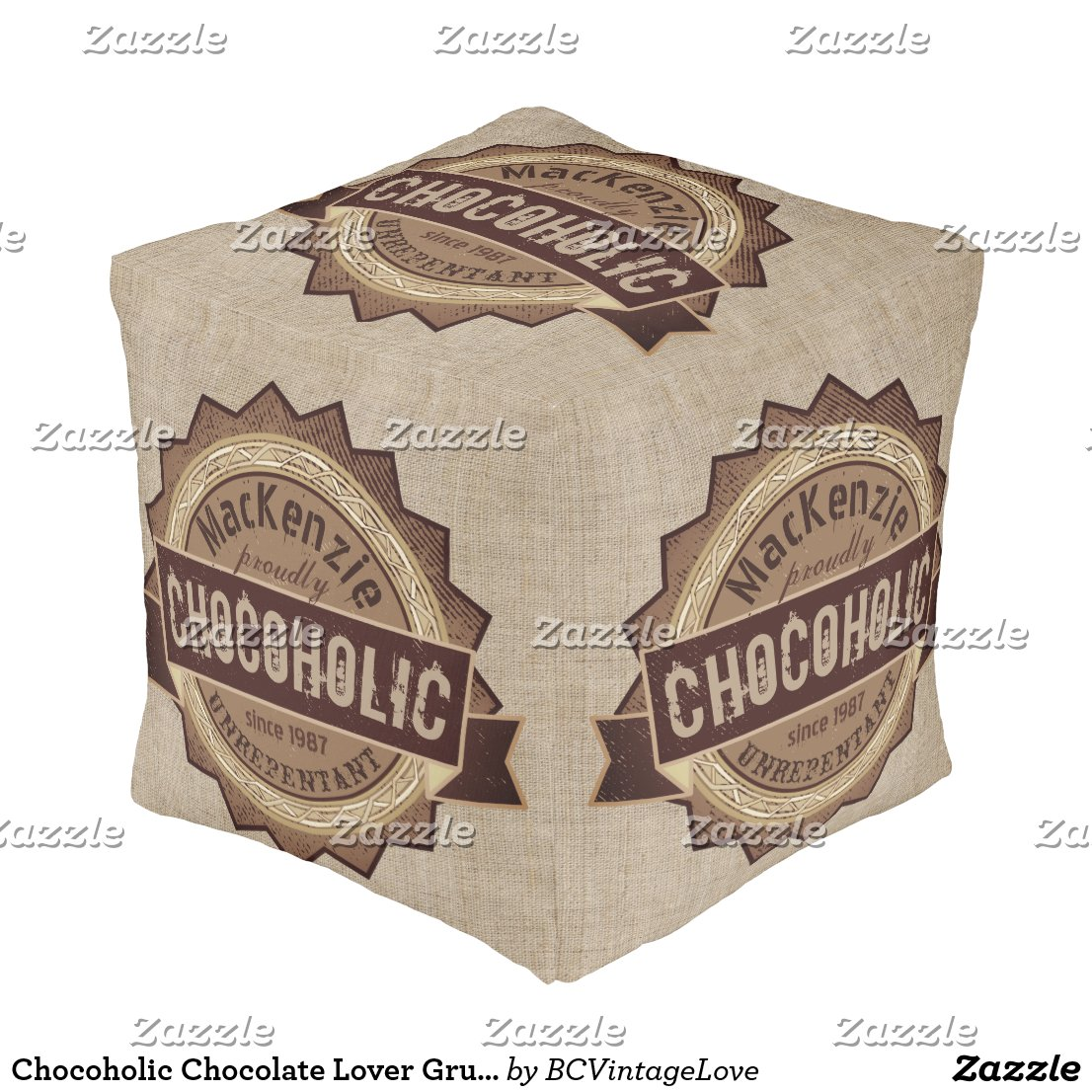 Chocoholic Chocolate Lover Grunge Badge Brown Logo Pouf
