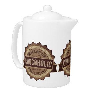 Chocoholic Chocolate Lover Grunge Badge Brown Logo Teapot