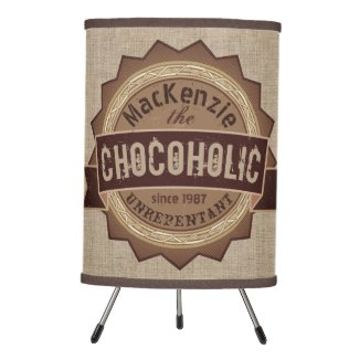 Chocoholic Chocolate Lover Grunge Badge Brown Logo Tripod Lamp