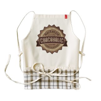 Chocoholic Chocolate Lover Grunge Badge Brown Logo Zazzle HEART Apron