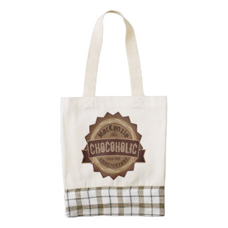 Chocoholic Chocolate Lover Grunge Badge Brown Logo Zazzle HEART Tote Bag