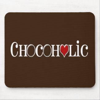 Chocoholic, Chocolate Lover with Red Heart Mouse Pads