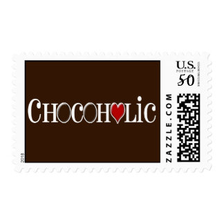 Chocoholic, Chocolate Lover with Red Heart Postage