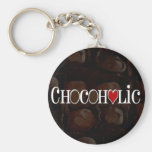 Chocoholic, Dark Brown and Red Heart Funny Design Basic Round Button Keychain