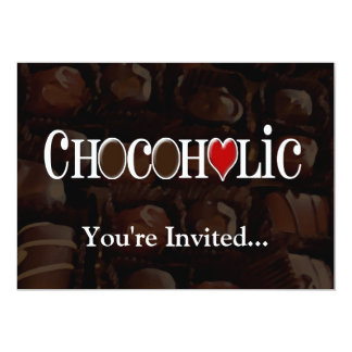 Chocoholic, Dark Brown and Red Heart Funny Design Card